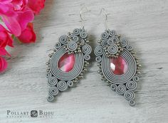 Soutache earrings Orecchini soutache Soutache bilateral Boucles d'oreilles soutache Grey soutache by PollartBijouSoutache on Etsy