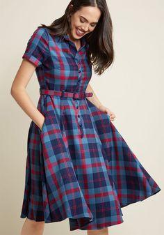 Style Dresses and Clothing Collectif Cherished Era Shirt Dress in Blue Plaid Plaid Dress, Dress Skirt, Shirt Dress, Skater Skirt, 1940s Fashion Dresses, Fashion Outfits, 1940s Dresses, Women's Fashion, Fashion News