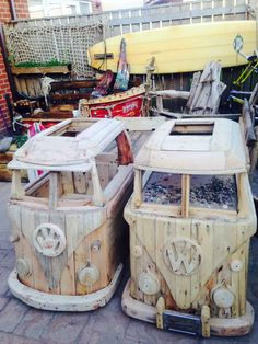 VW Bus Driftwood Storage Bench-Raw