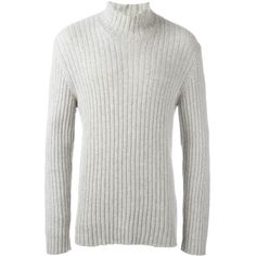 Helmut Lang Vintage ribbed turtle neck jumper (4600 MAD) ❤ liked on Polyvore featuring men's fashion, men's clothing, men's sweaters, grey, mens wool sweaters, mens gray sweater, mens ribbed sweater, men's polo neck sweaters and vintage mens sweaters