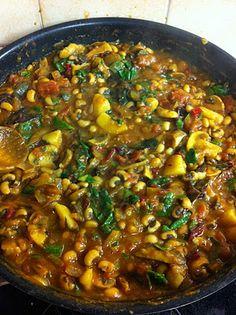 Black eyed pea, mushroom, chard curry