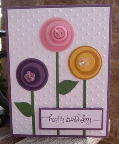 punched circle flowers - happy birthday
