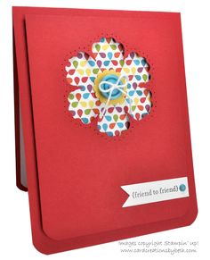 handmade card .... RED!!! ... luv the raised same-color panel ... negative flower punch die exposes bright patterned paper ... piercing around the flower ... Stampin' Up!