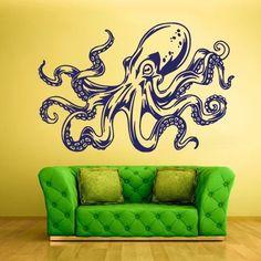 Wall Decal Mural Vinyl Sticker Animal Bedroom Octopus Sprut Ocean SEA Z808   eBay