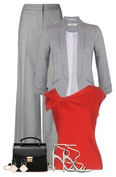 """""""Grey Suit"""" by majezy ❤ liked on Polyvore featuring Alexander McQueen, Miss Selfridge, Valentino and Marni"""