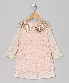 Love this Mia Belle Baby Pink Lace Sequin Collar Shift Dress - Toddler & Girls by Mia Belle Baby on #zulily! #zulilyfinds