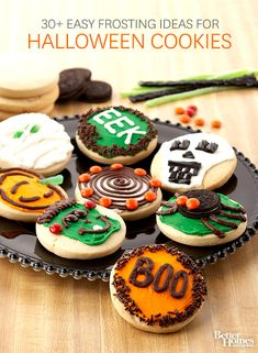 Find the cutest ways to easily decorate Halloween cookies: http://www.bhg.com/halloween/recipes/easy-ways-to-decorate-halloween-cookies/?socsrc=bhgpin081814halloweencookieideas
