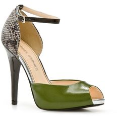 Audrey Brooke Beauty Pump - Green/Snake ($60) ❤ liked on Polyvore