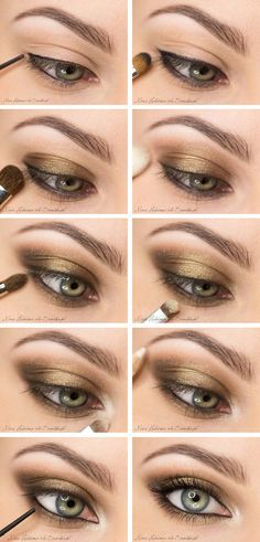 Makeup: smoky eye with gold - Olivia Wilde