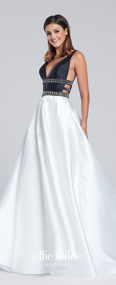 Prom Dresses 2017 - Ellie Wilde for Mon Cheri - Black and White Sleeveless Prom Dress with Full Skirt and Pockets - Style No. EW117144