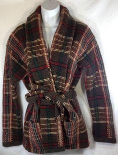 Ralph Lauren Sweater Jacket Small Womens Hand Knit Shawl Collar Lambswool Plaid #RalphLauren #SweaterJacket