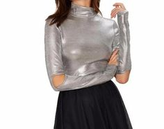 On Second Thought: Silver Hollow Out Sleeve Mock Neck Blouse Hipster Fashion, Denim Fashion, Street Fashion, Dubai Fashion, College Fashion, Winter Sweaters, Clubwear, Streetwear Fashion, Mock Neck