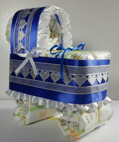 Diaper Cake Bassinet Carriage Baby Shower Gift Boy - Royal Blue and Ivory Hearts #Handmade #spring #babyshower #baby #gift #babyboy #babybump #SALE #New #HOT Brand new Baby Shower Gift, Available now, ready to ship and wrapped and ready for gift giving!