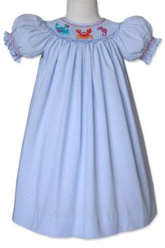Smocked sea creatures girls smocked dress hand by CarouselWear, $48.99
