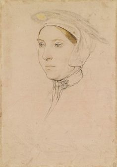 Hans Holbein the Younger An unidentified woman Black and coloured chalks, white bodycolour, black and brown wash, pen and ink, and brush and ink on pale pink prepared paper Portrait Sketches, Portrait Art, Portrait Paintings, Pencil Portrait, Hans Holbein The Younger, Landsknecht, The Royal Collection, Renaissance Era, Tudor History