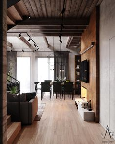 Industrial style 67483694400817700 - This city house in Minsk, Belarus, is of modern loft style. Designed by VAE, the interior is decked out with metal and concrete industrial features, softe Source by baretoeswife Industrial Interior Design, Industrial Dining, Industrial Interiors, Industrial House, Home Interior Design, Industrial Style, Industrial Apartment, Industrial Bedroom, Industrial Lighting