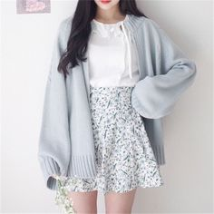 Fashion - Spring Sweater Coat Open Stitch Knit Jacket Solid Color Cardigan For Women Casual Sweaters Top Jackets Japanese Cardigan Cardigans from Women's Clothing & Accessories on Aliexpress com Ali Korean Fashion Trends, Korean Street Fashion, Korea Fashion, Mode Outfits, Girl Outfits, Fashion Outfits, Fashion Ideas, Fashion Hacks, Fashion Styles