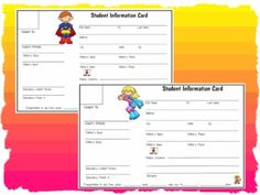 """Here are two adorable """"Student Information Cards"""" to copy and use for your classroom.  The top card features a boy superhero boy for your male students and the bottom card features a girl superhero girl for your female students.  Enjoy!"""