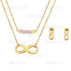 juego collar y aretes de infinito dorado con bola especial en acero inoxidable para mujer -SSNEG183960