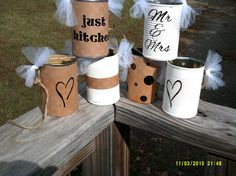 Just Married Tin Can Garland' just like the old days! Throwback to the past with a decorative set of 6 tin cans that can be used on bumper, Bike,or Wedding On A Budget, Wedding Car, Wedding Blog, Just Married Banner, Just Married Car, Just Married Girlande, Diy Wedding Garland, Budget Planer, Cars Birthday Parties