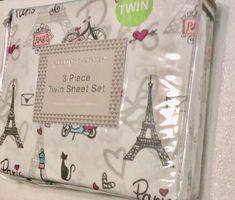 Eiffel Tower Cats Pairs Hearts Twin Sheet Set Bedding Linens    eBay