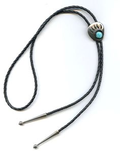 Vtg 1970s Sterling Bear Claw Turquoise Shadow Box Southwestern Bolo Tie Necklace #NotSigned