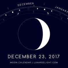 Saturday, December 23 @ 10:30 GMT  Waxing Crescent - Illumination: 22%  Next Full Moon: Tuesday, January 2 @ 02:25 GMT Next New Moon: Wednesday, January 17 @ 02:18 GMT