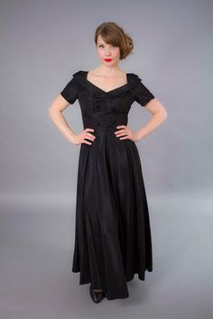 Shawl collar, ALady. 1940s dress . 40s full length formal evening gown by coralvintage, $300.00