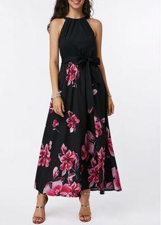 b750312fb97 Flower Print Belted High Waist Maxi Dress