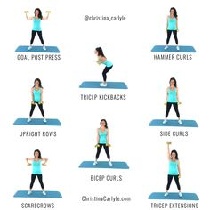 Gym Workout For Beginners, Fitness Workout For Women, Body Fitness, Arm Workout Videos, Fitness Women, Arm Workouts At Home, Easy Workouts, Best Home Exercises, Workout For Home