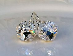 New Swarovski Cushion Cut Clear Crystal by HisJewelsCreations, $34.00