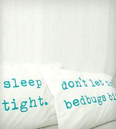 """Sleep Tight, Don't Let the Bedbugs Bite"" Pillowcases - Turquoise | FLASH319 | Urban Bird & Co. | Scoutmob Shoppe | Product Detail"