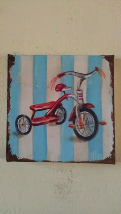Original painting pedal tricycle toy radio flyer by FrenchFlair1, $25.00