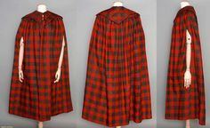 'Rob Roy' check/tartan Lady's cape, late 18thC (front, back and side view) Wool & linen twill woven in red & dark green, full length, large five point collar, piped yoke, side slits, lined in brown linen over cotton (?) batting, L 48.75"