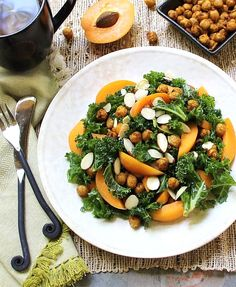Massaged Kale Salad with fresh Apricot & Spicy Skillet Chickpeas