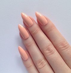 Pastel peach stiletto nails Nail designs by prettylittlepolish