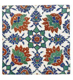 An Iznik polychrome pottery tile, Turkey, circa 1590 Art Deco Illustration, Turkish Tiles, Turkish Art, Islamic World, Islamic Art, Turkish Design, Vintage Tile, Decorative Tile, Tile Art