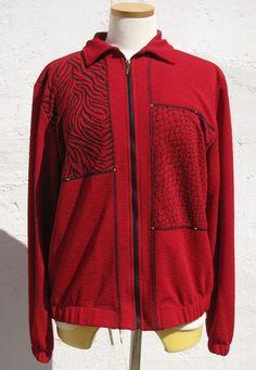 Red Women's Jacket Zip Up Animal Print by Teddi Designer sz Medium Vintage 90s #Teddi