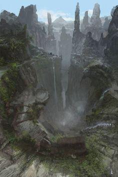A beira do abismo moram os eremitas das alturas que desenvolveram técnicas de cultivo e caça em grandes altitudes.