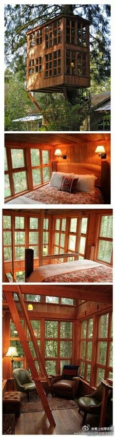 """Treehouse """"dream house""""- oh so cute! Cozy interior, perfect little space."""