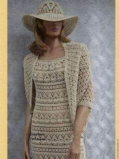 crochelinhasagulhas: Conjunto de vestido, casaco e chapéu em crochê