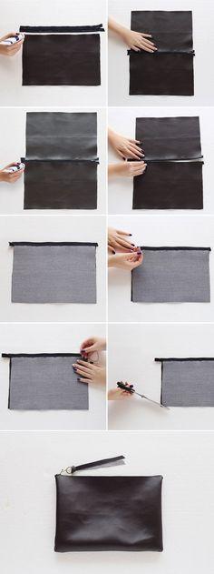 DIY Fashion - no-sew leather clutch bag tutorial; craft project idea: