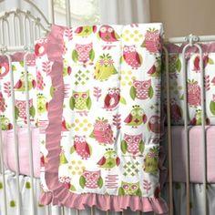 Girly Owl Crib Comforter with Ruffle 250x250 image