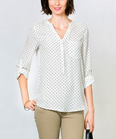 Another great find on #zulily! White & Black Eve Button-Up Top by Sawyer Cove #zulilyfinds