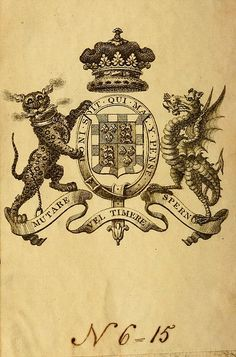 Armorial Bookplate: Coat of arms of the Dukes of Beaufort - mutare vel timere sperno by CharmaineZoe, via Flickr