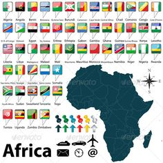 Map of Africa with its countries and flags.