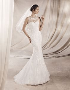An embroidered lace mermaid wedding dress with fabulous gemstone embellished halter neckline. White One 'Yeter'. Lace Mermaid Wedding Dress, White Wedding Dresses, Designer Wedding Dresses, Bridal Gown Styles, Bridal Dresses, Wedding Poses, Bride, Fishtail, Embroidered Lace