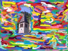 My paint about Zambana Vecchia -  Trentino -  by Amos Locati