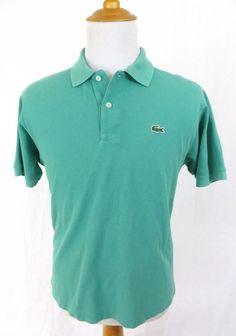 Lacoste Polo Shirt Medium 5 Aqua Embroidered Crocodile Authentic 100% Cotton #Lacoste #PoloRugby