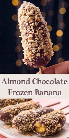 Almond chocolate frozen banana is simple and easy dessert. It's healthier popsicle alternative. And also perfect for kids. Frozen Banana Recipes, Banana Dessert Recipes, Frozen Desserts, Easy Desserts, Delicious Desserts, Snack Recipes, Yummy Food, Frozen Treats, Healthier Desserts